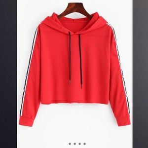 Tops - BRAND NEW red, white, and black cropped sweatshirt